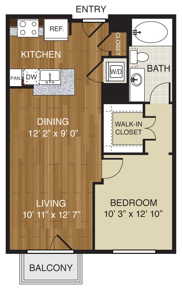 715 sq. ft. A1.2 floor plan