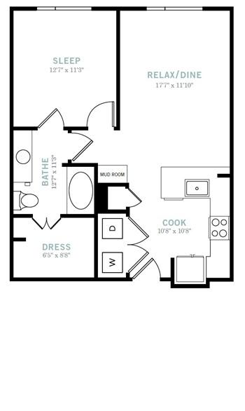 706 sq. ft. A2B floor plan