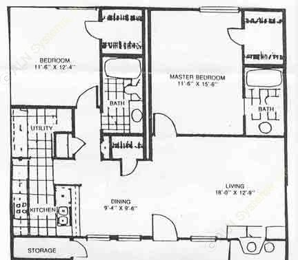 1,040 sq. ft. 60% B2 floor plan