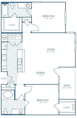 1,221 sq. ft. B3 floor plan