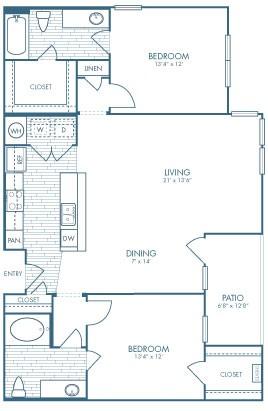 1,221 sq. ft. Gambler floor plan
