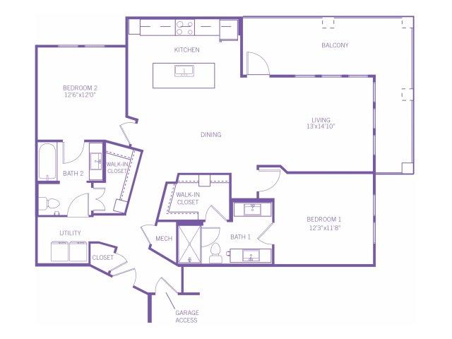 1,339 sq. ft. B4G floor plan