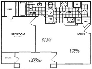 620 sq. ft. DELMAR floor plan