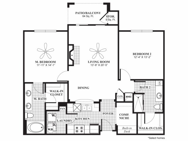 1,163 sq. ft. B2HC floor plan