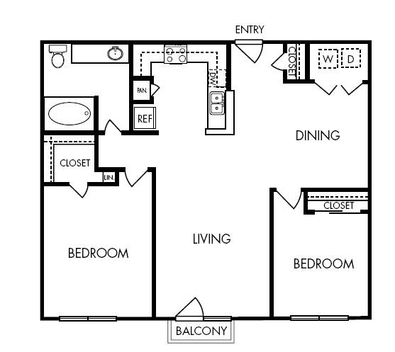 1,032 sq. ft. Plush floor plan