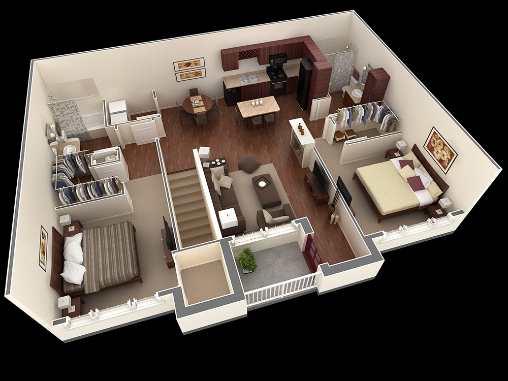 1,186 sq. ft. Evans floor plan