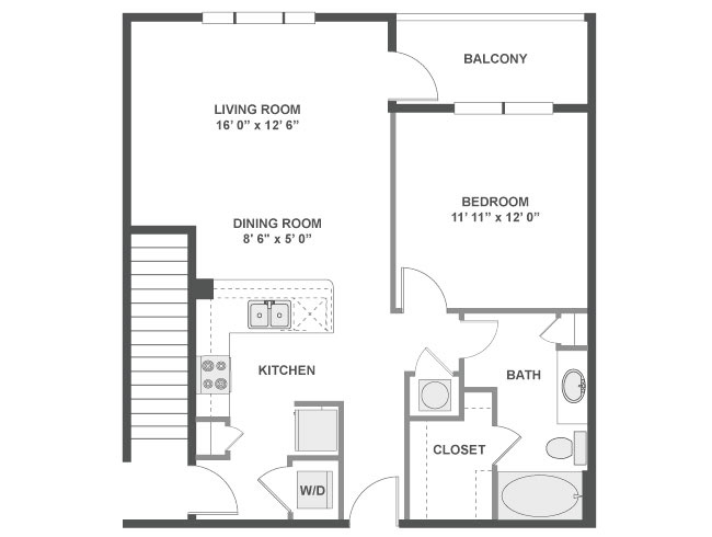 767 sq. ft. Barcelona floor plan