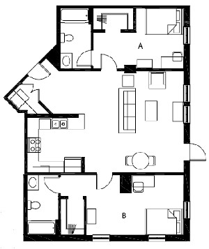 1,073 sq. ft. B6 floor plan