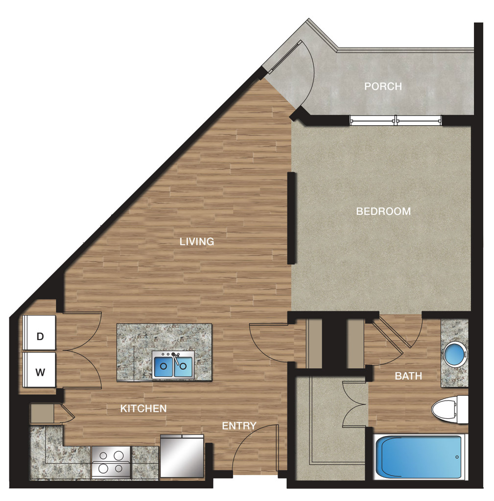 654 sq. ft. E2 floor plan