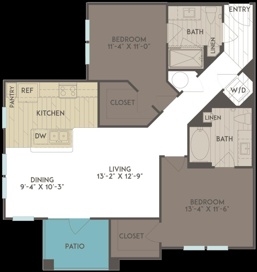 1,073 sq. ft. floor plan