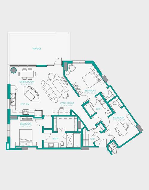 1,492 sq. ft. C1.2 floor plan
