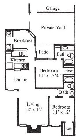 1,160 sq. ft. B3-Duplx floor plan