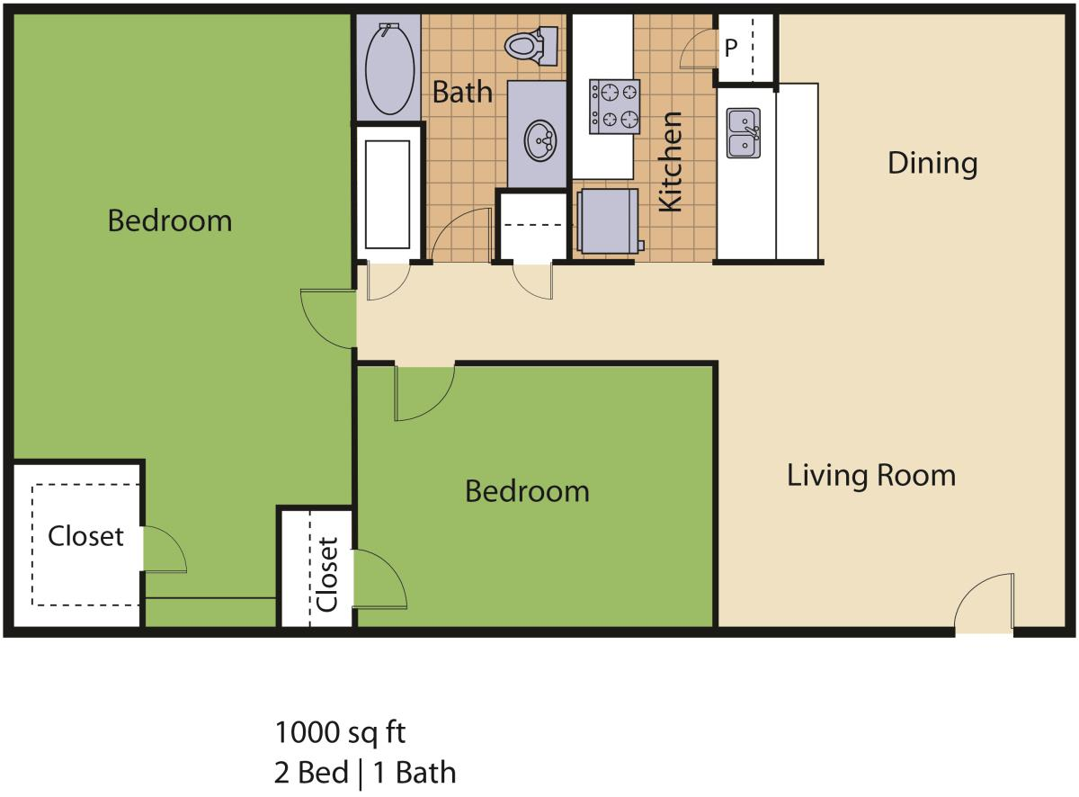 1,000 sq. ft. Parliment floor plan