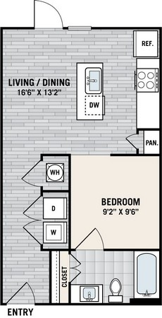 483 sq. ft. E1C floor plan