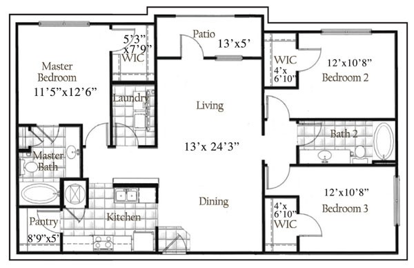 1,378 sq. ft. floor plan