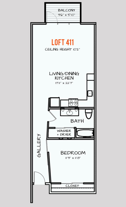 938 sq. ft. 125 floor plan