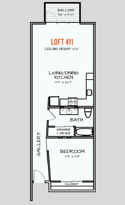 938 sq. ft. 125 floor plan