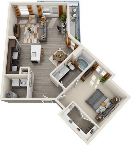 941 sq. ft. A1.3 floor plan