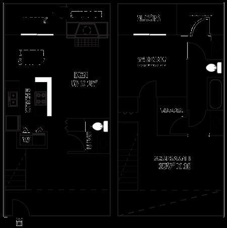 1,273 sq. ft. T8 floor plan