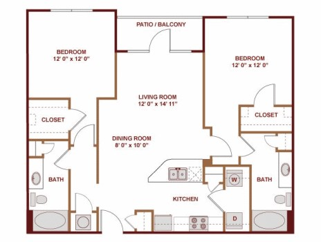1,092 sq. ft. to 1,105 sq. ft. Santiago floor plan