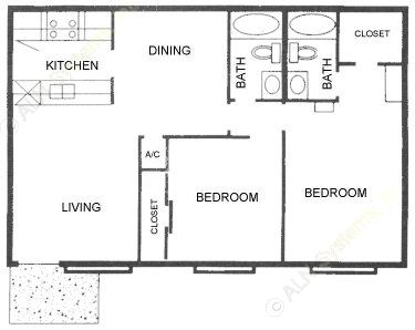 969 sq. ft. A2 ABP floor plan