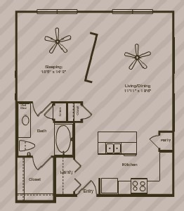 736 sq. ft. Soho floor plan