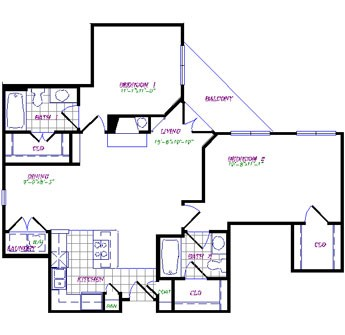 1,036 sq. ft. to 1,049 sq. ft. floor plan