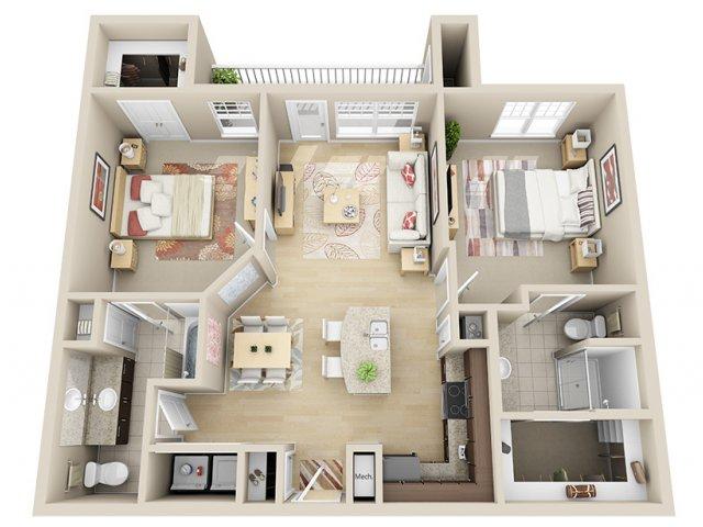 1,050 sq. ft. B2 floor plan