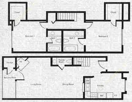 1,049 sq. ft. SB3 floor plan