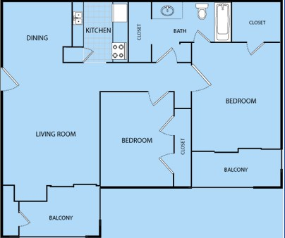 907 sq. ft. F floor plan