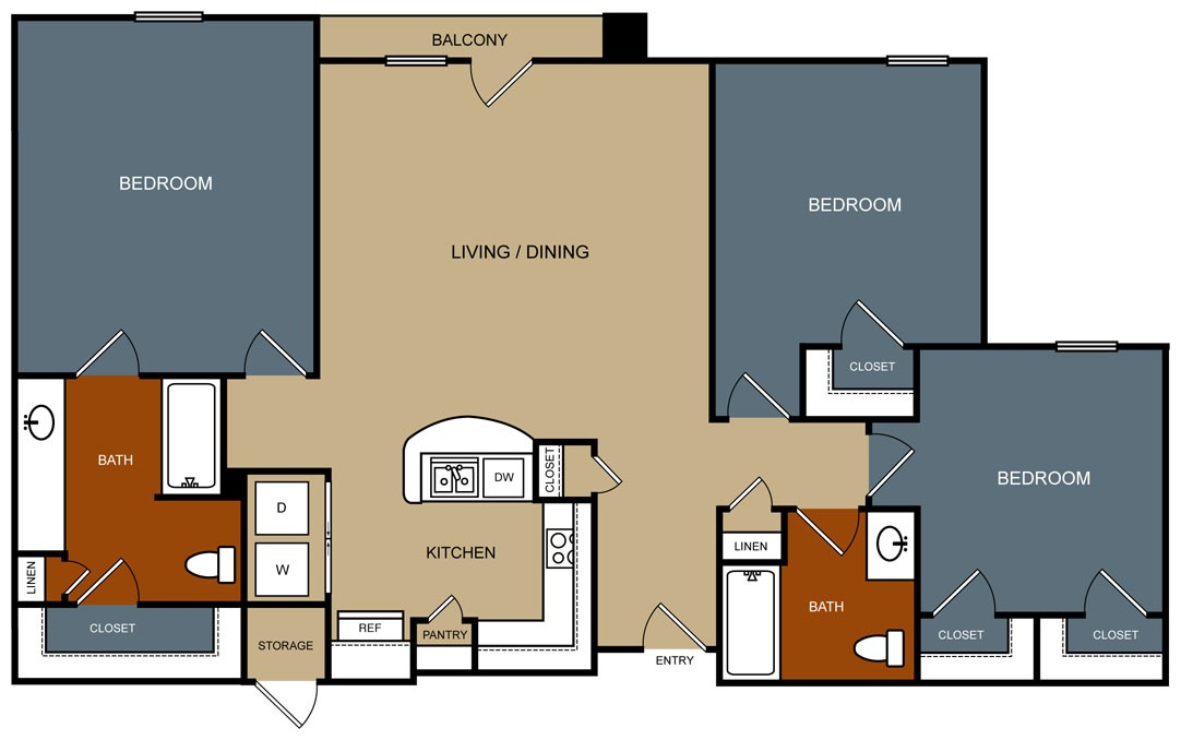 1,328 sq. ft. C1/50% floor plan