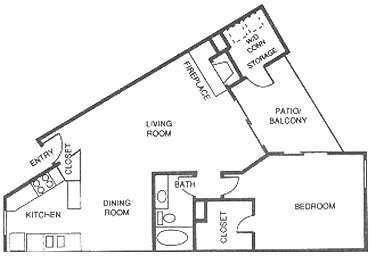 832 sq. ft. D floor plan