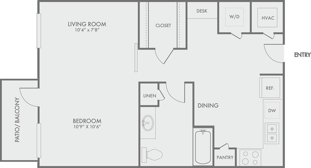 668 sq. ft. S3 floor plan