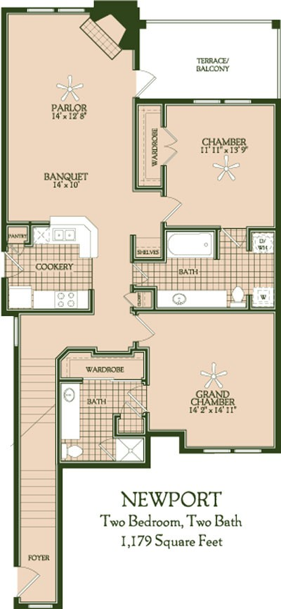 1,179 sq. ft. Newport floor plan