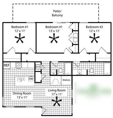 1,274 sq. ft. C2 floor plan