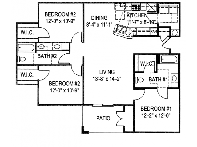 1,308 sq. ft. C2A floor plan
