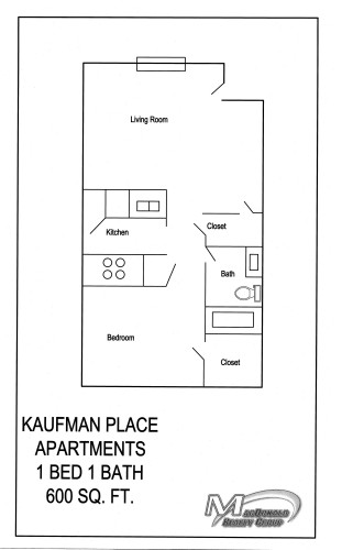 600 sq. ft. A1 floor plan