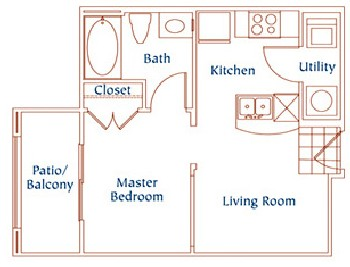 460 sq. ft. A1 floor plan