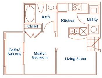 475 sq. ft. A3 floor plan