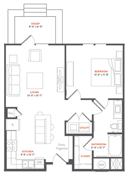 757 sq. ft. A2B floor plan