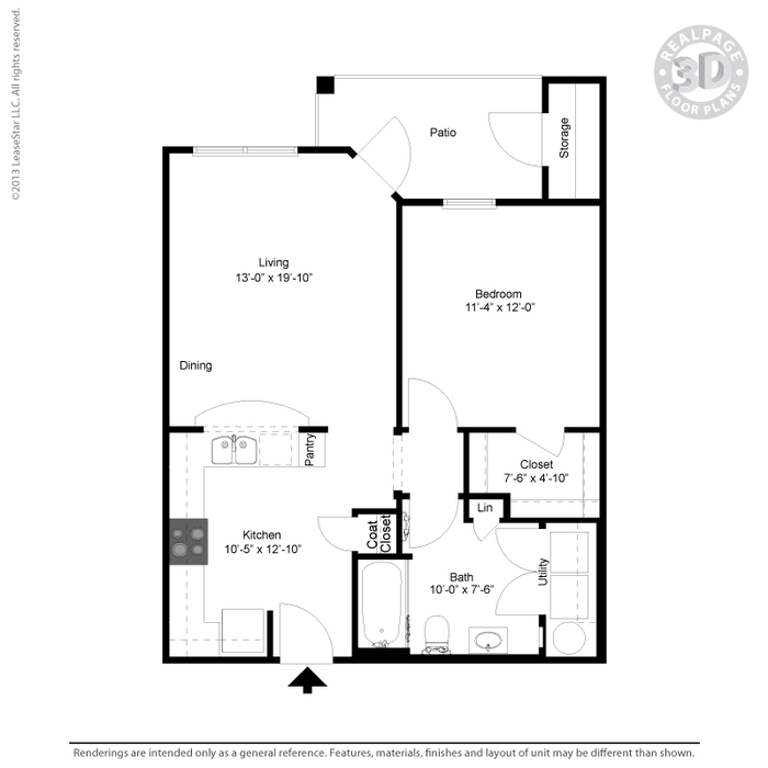 708 sq. ft. A1 floor plan
