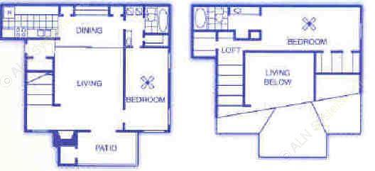 1,104 sq. ft. B3 floor plan