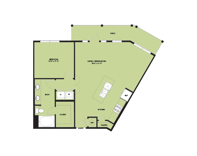 873 sq. ft. A8 floor plan