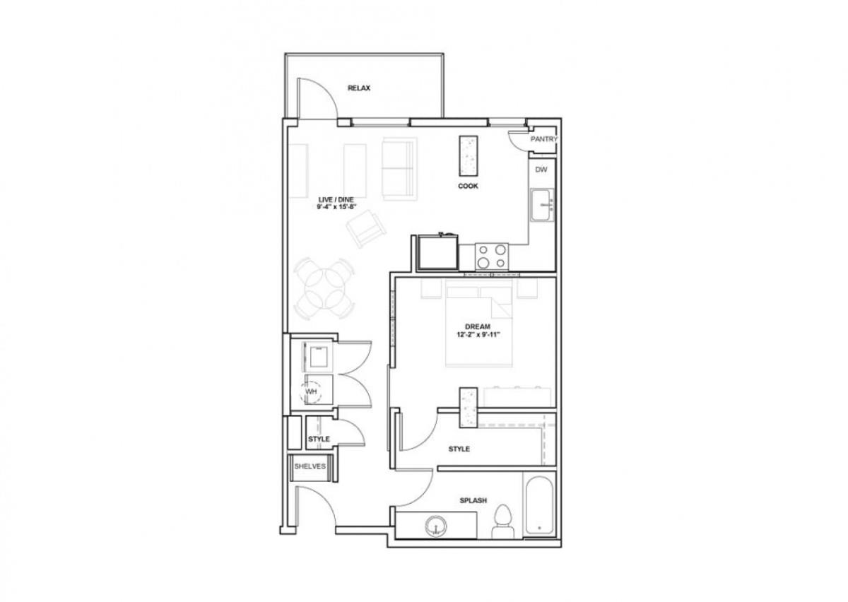 669 sq. ft. Ash floor plan