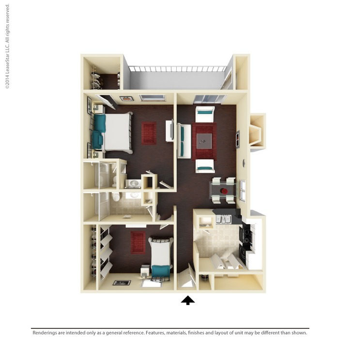 1,014 sq. ft. B4 floor plan