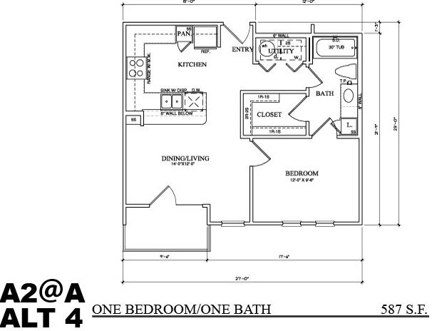 608 sq. ft. A2A floor plan