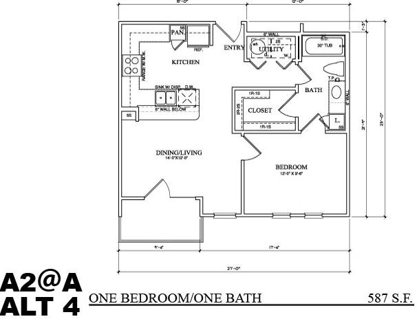 608 sq. ft. A2A floor plan