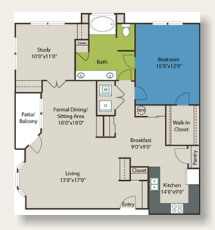 1,259 sq. ft. D2 floor plan
