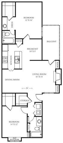 1,160 sq. ft. Ridgeview floor plan