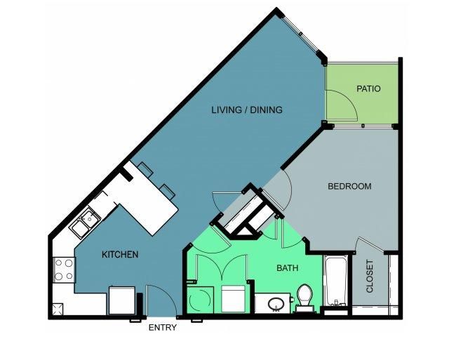 700 sq. ft. Westover floor plan